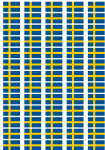 Sweden Flag Stickers - 65 per sheet